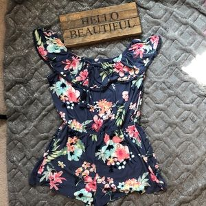 🌸 Floral Romper With Front Pockets Sz L
